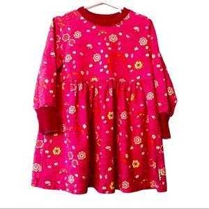Gymboree Pink Floral Dress Long Sleeve Sz Medium